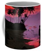 Hawaiian Fishing On Halama Beach At Sunset Coffee Mug