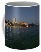 Hawaiian Lights - Waikiki Beach And Diamond Head Volcano Crater Coffee Mug