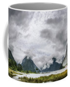 Heads In The Clouds Panorama At Milford Sound Coffee Mug