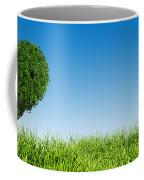 Heart Shape Tree On Green Grass Field Coffee Mug