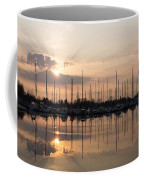 Heavenly Sunrays - Peaches-and-cream Sunrise With Boats Coffee Mug