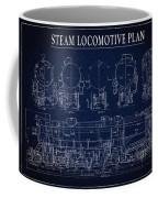 Heavy Steam Locomotive Blueprint Coffee Mug