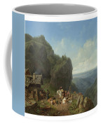 Heinrich Burkel 1802 - 1869 German Wirtshaus Auf Der Alm Mit Alpzug Tavern In The Alps Coffee Mug