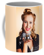 Help At Hand With Retro Woman Offering Assistance Coffee Mug