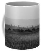 Herd Of Bison Grazing Panorama Bw Coffee Mug