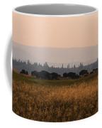 Herd Of Bison Grazing Panorama Coffee Mug
