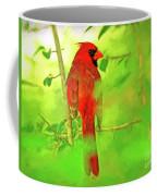 Hiding Behind The Leaves - Male Cardinal Art Coffee Mug