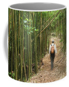 Hiker In Bamboo Forest Coffee Mug