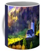 Hilltop Church In Misty Mountain Forest Coffee Mug