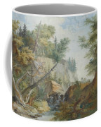 Hilly Landscape With A River And Figures In The Background Coffee Mug