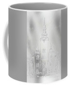 Historic Church And Town Square, Graphic Work From Painting. Metal Effect. Coffee Mug