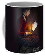 Historical Victorian Woman Reading A Letter By Candlelight Coffee Mug