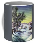 Holiday Winter Snow Scene Children Skating On Frozen Pond Coffee Mug
