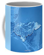 Honduras Country 3d Render Topographic Map Blue Border Coffee Mug