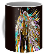 Horse Abstract Brown And Blue Coffee Mug
