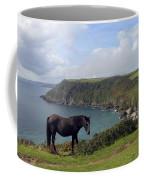 Horse Along Coastal Path Cornwall Coffee Mug