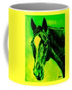 Horse Art Horse Portrait Maduro Green Black And Yellow Coffee Mug