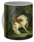 Horse Attacked By A Lion Coffee Mug