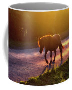 Horse Crossing The Road At Sunset Coffee Mug