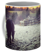 Horses On A Frosty Pasture Coffee Mug