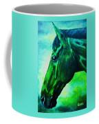 horse portrait PRINCETON blue green Coffee Mug