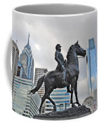 Horseman Between Sky Scrapers Coffee Mug