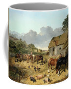 Horses Drinking From A Water Trough, With Pigs And Chickens In A Farmyard Coffee Mug