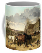 Horses Eating From A Manger, With Pigs And Chickens In A Farmyard Coffee Mug
