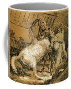 Horses Fighting In A Stable Coffee Mug