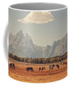 Horses Grazing In Front Of The Teton's Coffee Mug