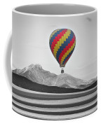 Hot Air Balloon And Longs Peak - Black White And Color Coffee Mug