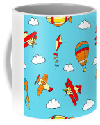 Hot Air Balloons And Airplanes Fly In The Sky Coffee Mug