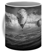 Hot Air Balloons In Black And White Over Fields Coffee Mug