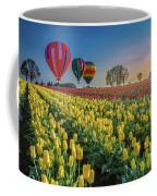 Hot Air Balloons Over Tulip Fields Coffee Mug