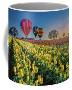 Hot Air Balloons Over Tulip Fields Coffee Mug