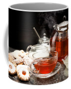 Hot Steaming Tea With Christmas Biscuits Coffee Mug