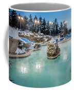 Hot Tubs And Ingound Heated Pool At A Mountain Village In Winter Coffee Mug