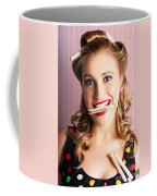 Housewife Doing Cleaning And Pin-up Laundry Chores Coffee Mug