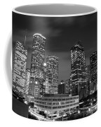 Houston By Night In Black And White Coffee Mug