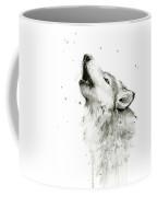Howling Wolf Watercolor Coffee Mug