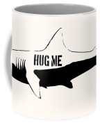 Hug Me Shark - Black  Coffee Mug by Pixel  Chimp
