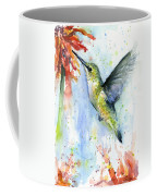 Hummingbird And Red Flower Watercolor Coffee Mug