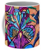 Hummingbird And Stained Glass Hearts Coffee Mug