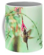 Hummingbird In Flight Sucking On A Juicy Pink Flower Coffee Mug