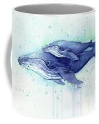 Humpback Whale Mom And Baby Watercolor Coffee Mug