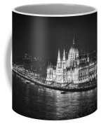 Hungarian Parliament Night Bw Coffee Mug