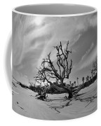 Hunting Island Beach And Driftwood Black And White Coffee Mug