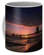 Huntington Pier At Sunset Coffee Mug