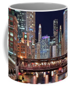Hustle And Bustle Night Lights In Chicago Coffee Mug