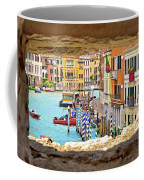 Hvar Bay Aerial View Through Stone Window Coffee Mug